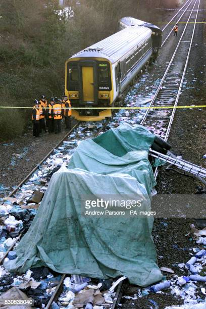 The scene at Nocton Lincolnshire after a train travelling from Bimingham to Sleaford carrying 50 passengers derailed after hitting a van that had...
