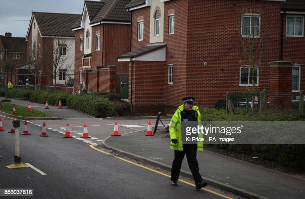 The scene at Oatridge Gardens Hemel Hempstead after a sinkhole approximately 35ft wide and 20ft deep appeared under part of a home and the road