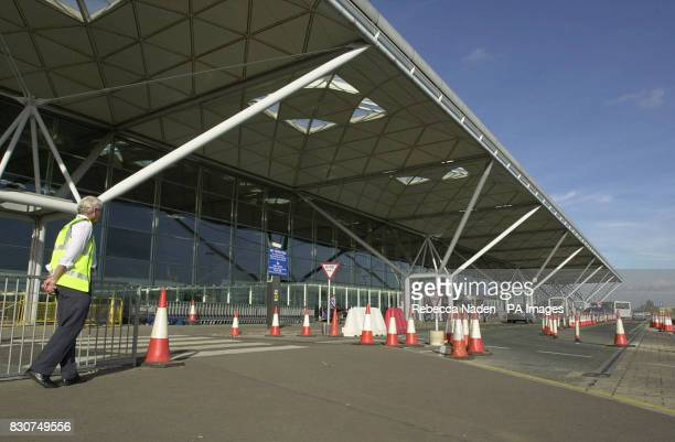 The scene at Stansted Airport Essex after a twoman team from The Mirror newspaper roamed freely around a Boeing 737 passenger jet undergoing...