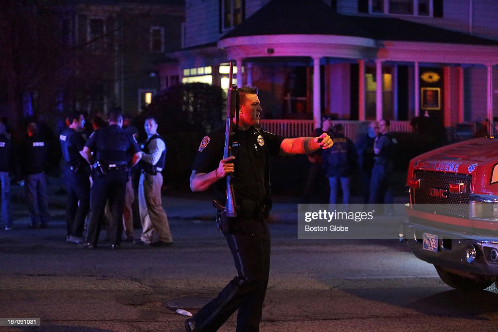 The scene at the intersection of Franklin at Mount Auburn Street in Watertown shortly before the capture of the second suspect. After an intense manhunt and two-hour standoff in Watertown, law enforcement took a person into custody believed to be related to the Boston Marathon bombings.