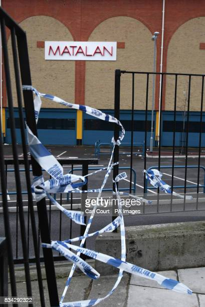 The scene at the Matalan store in the Kingsland Centre Dalston east London where 33 year old Jamie Simpson an assistant manager was stabbed to death...
