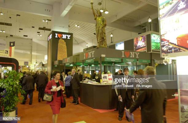 The scene at the New York Stand at the World Wide Travel Show the largest in the world at Earls Court in London The annual show an opportunity for...