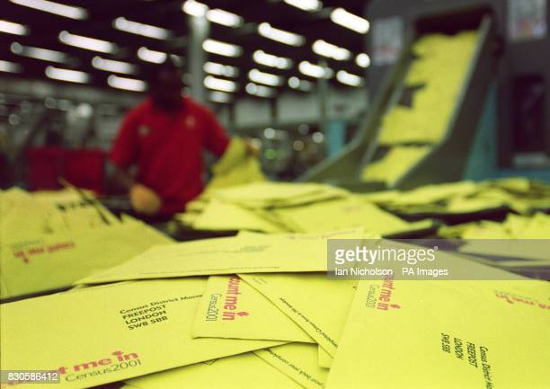 The scene at the South London Mail Centre as a mountain of returned Census forms await processing 45 million Census forms have already been returned...