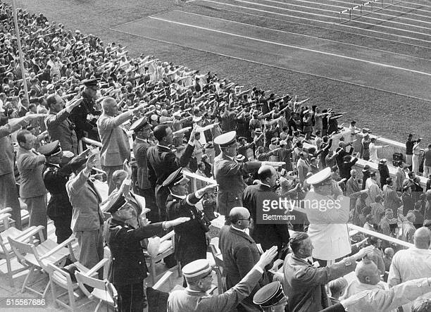 The scene in Adolf Hitler's box during the crowning with laurel leaves of Gerhardt Stoeck winner of the javelin throw at the Olympics in Berlin Left...