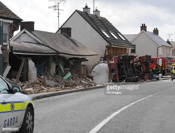 The scene in Emyvale CoMonaghan after a milk tanker crashed into a row of houses killing the driver