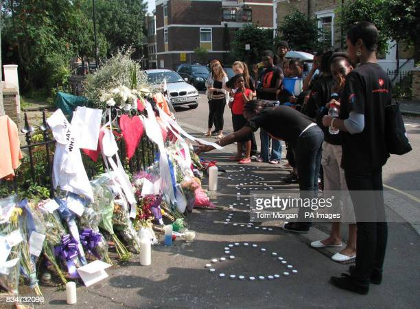 The scene in Lambeth London where a vigil was held in memory of Freddy Moody Boateng who was stabbed to death after a row over a water fight