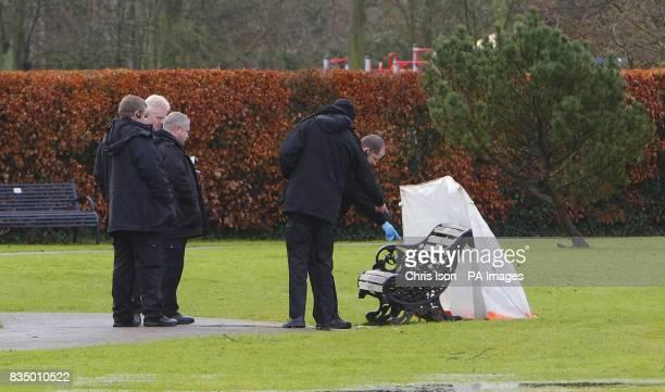 The scene in Mountbatten War Memorial Park in Romsey Hampshire after a elderly woman was found dead