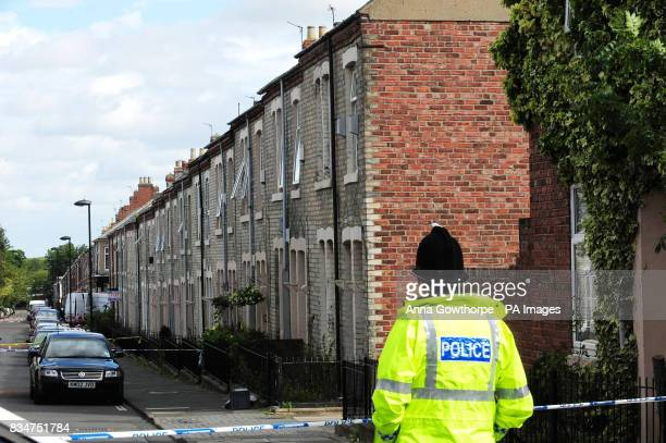 The scene in Newcastle upon Tyne's West End where two people were found dead yesterday