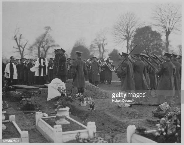 The scene in the cemetery at the funeral of Major S Middleton who was buried with full military honours He was a well known referee in the Southern...