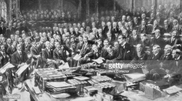 The scene in the House of Commons Westminster London 3 August 1914 On 3 August 1914 Germany declared war on France and invaded Belgium the following...