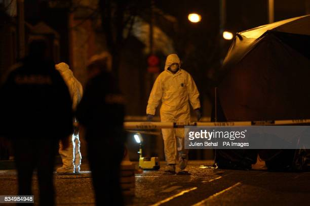 The scene in the Summerhill area north of innercity Dublin where two men were seriously injured in a suspected shooting