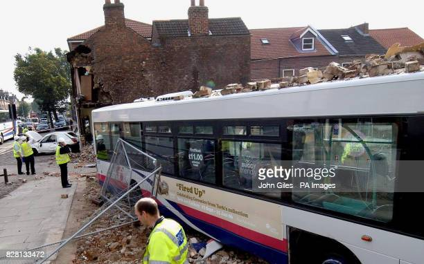 The scene in York Tuesday September 20 after a bus ploughed into an end terrace house demolishing a side wall The bus driver and people in the house...