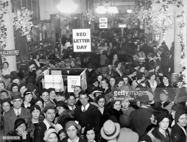The scene inside Gilchrist's during the Red Letter Day sale Dec 3 1932 Prosperity's return was emphatically demonstrated as thousands of thrifty New...