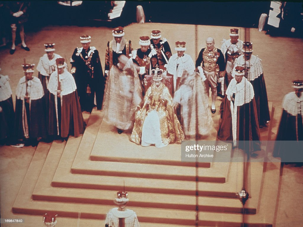 The scene inside Westminster Abbey during the Coronation of Queen Elizabeth II 2nd June 1953