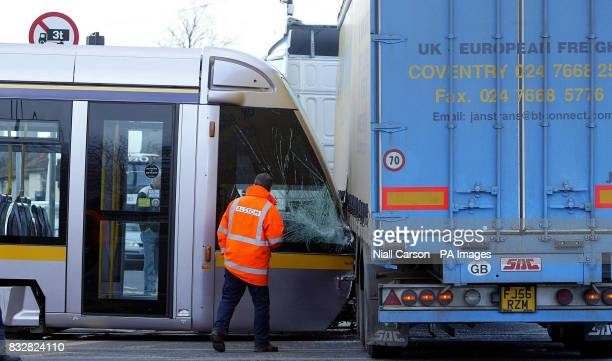 The scene of a crash between a Luas and a Lorry at Suir Road Dublin