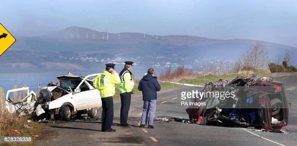 The scene of a road accident in Co Donegal Ireland in which five people were killed Saturday 18th February 2006 Two men and a woman died at the scene...