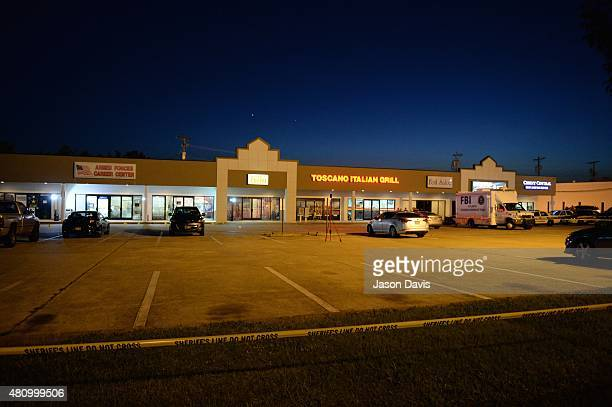 The scene of a shooting at a Armed Forces Career Center/National Guard recruitment office on July 16 2015 in Chattanooga Tennessee According to...