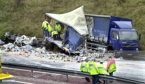The scene of a smash involving two lorries and a car which led to the closure of a section of the M4 between junctions 14 at Swindon East and 15 at...