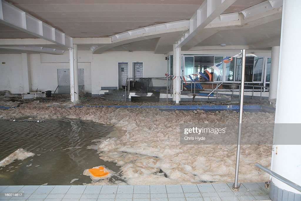 The scene of a swimming school in Burleigh Heads as Queensland experiences severe rains and flooding from Tropical Cyclone Oswald on January 28, 2013 in Gold Coast, Australia. Hundreds have been evacuated from the towns of Gladstone and Bunderberg while the rest of Queensland braces for more flooding.