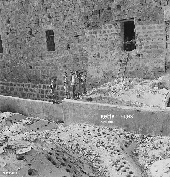 The scene of an escape at Acre jail Palestine where 250 convicts escaped through a window after the bars were blasted out by a Jewish terrorist group...