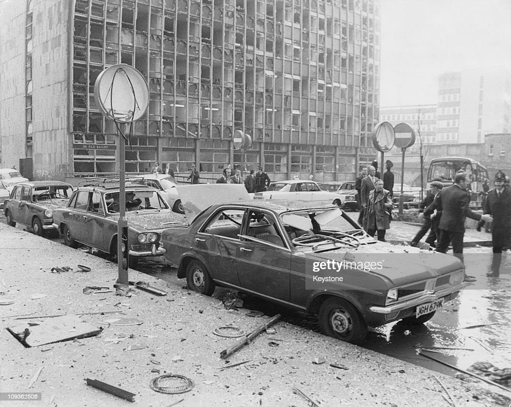 The scene of an IRA (Provisional Irish Republican Army) car bomb explosion outside the Old Bailey in London, 8th March 1973. The bombing was part of the IRA's first attacks outside Northern Ireland, in which three other car bombs were planted in London. Two bombs were defused but one man was killed and 180 injured by the two which detonated.