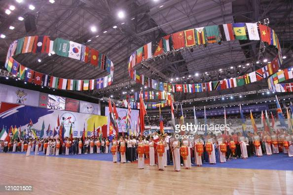 The scene of the 18th World Taekwondo Championships opening ceremony at the Changping Gymnasium in Beijing China on May 17 2007