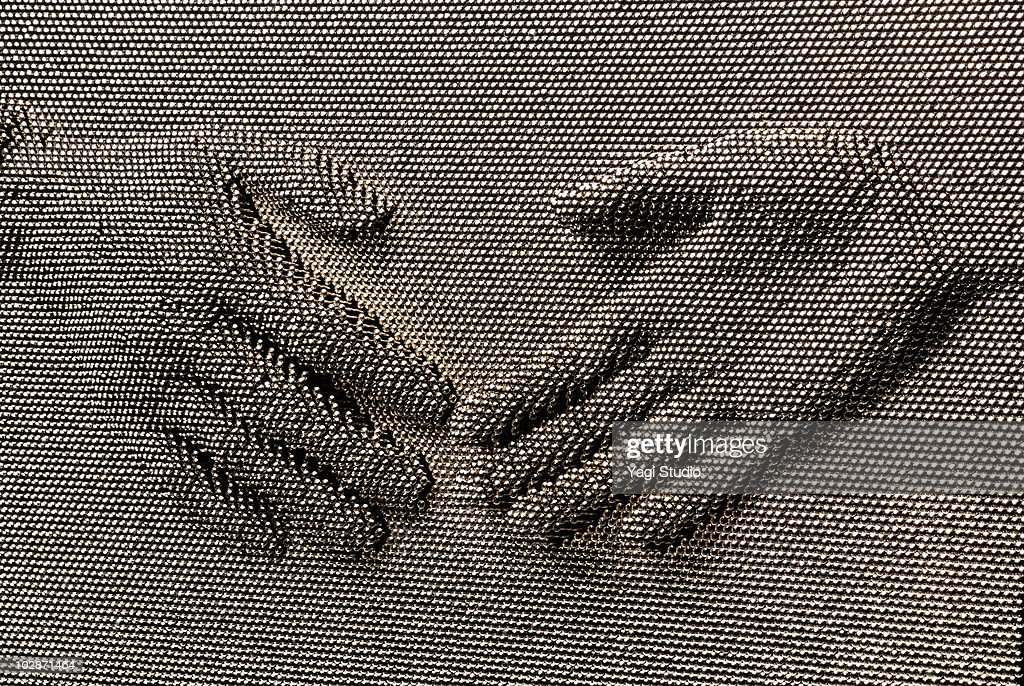 The scene of the handshake made with a nail  : Stock Photo