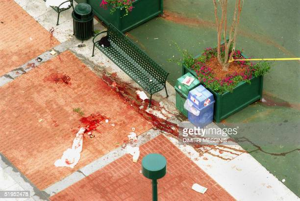 The scene of the Olympic bomb blast pictured at down 27 July 1996 at the Centennial Olympic Park in Atlanta The terrorist bomb went off at about 125...
