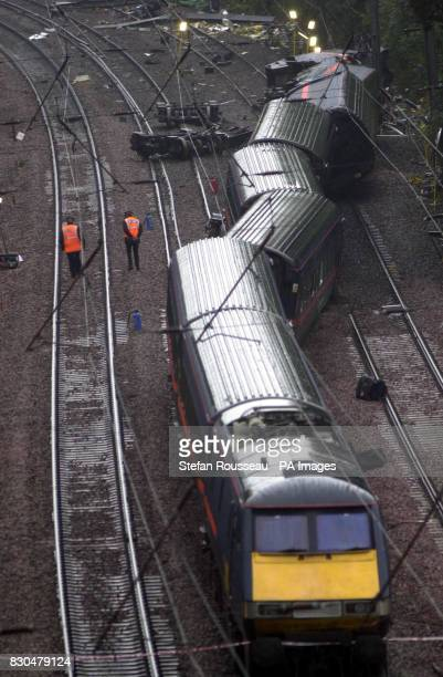 The scene of the rail crash near Hatfield Herts Officers from the British Transport Police and Hertfordshire Police expect to spend several hours...