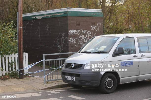 The scene off Cavendish Avenue Ealing west London where a man was shot dead last night