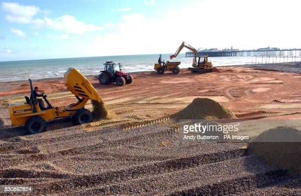 The scene on Brighton beach as the beach famous for its pebbles gets transformed with 400 tonnes of sand to create a playing area for the Kronenbourg...