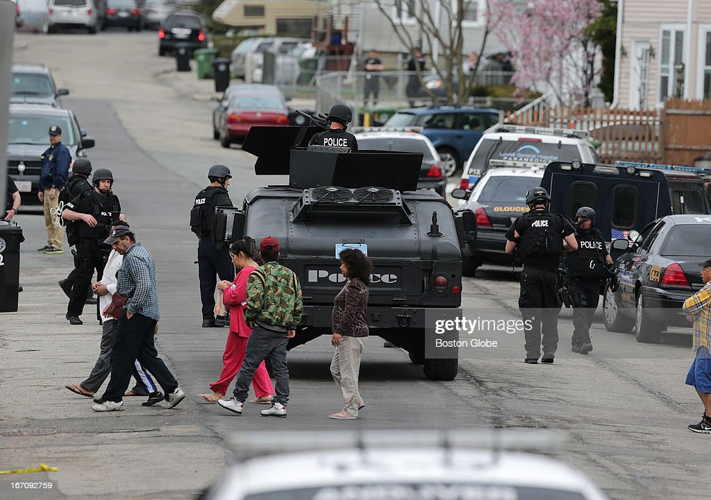 The scene on Nichols Street in Watertown where an intensive manhunt was conducted. Watertown is on lockdown following a chase and shootout in the area last night as officials search for suspects in the bombing of the 117th Boston Marathon.