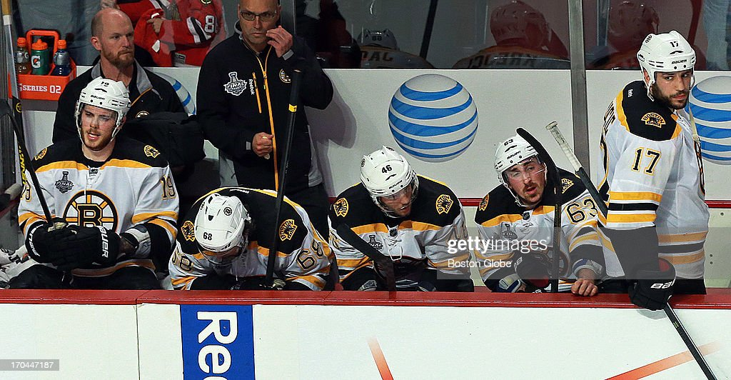 The scene on the Bruins bench following the loss, left to right Tyler Seguin, Jaromir Jagr, David Krejci, Brad Marchand and Milan Lucic. The Boston Bruins visited the Chicago Blackhawks in Game One of the Stanley Cup Finals at the United Center, June 12, 2013, ending in triple overtime, June 13.