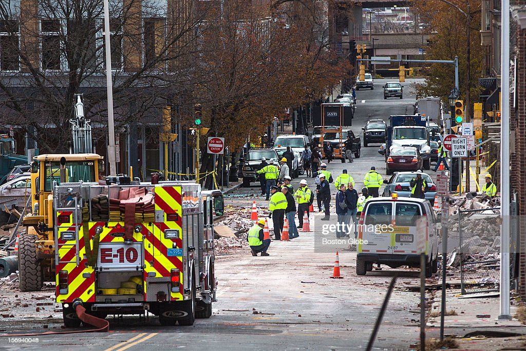 The scene on Worthington Street after a natural gas explosion leveled Scores Gentleman's Club and damaged several nearby buildings along the street in Springfield.