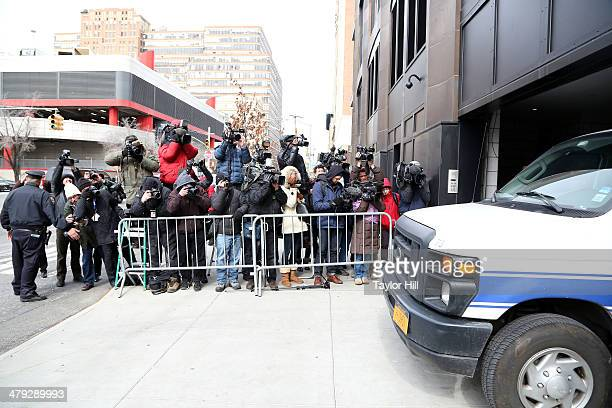The scene outside 200 11th Avenue on March 17 2014 in New York City where fashion designer L'Wren Scott was found dead from an apparent suicide