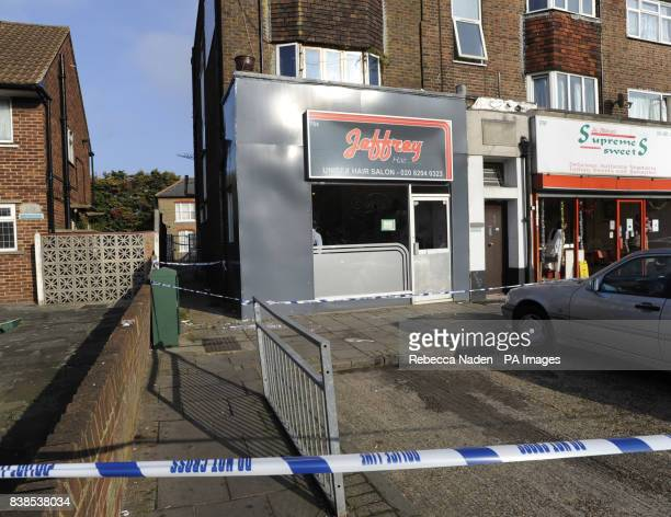 The scene outside a hair salon where a man smashed a fluorescent light bulb before four police officers were stabbed in Kingsbury Road Brent London...