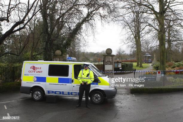 The scene outside Mountbatten War Memorial Park in Romsey Hampshire after a elderly woman was found dead