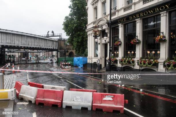 The scene outside The Barrowboy and Banker pub where a van was driven into a wall during Saturday's terrorist attack on London Bridge on June 6 2017...