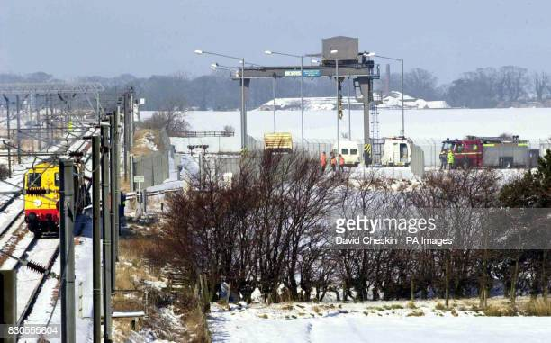 The scene outside the Torness power station near Dunbar East Lothian where a train carrying spent nuclear fuel flasks derailed as it arrived at the...