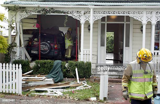 The scene where this car has been involved in a crash with another car and left the road to end up in a bedroom in a villa on Richmond Road Ponsonby...