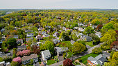 The scenic panoramic aerial view of Scarsdale city, Westchester County, New York State, USA, at spring sunny day.