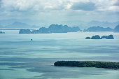 The scenic view on a sea with islands and the cliffs