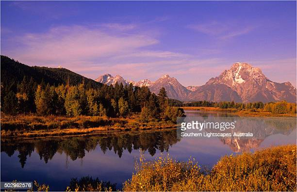 The scenically beautiful Grand Teton Mountain range from Oxbow bend turnout, Grand Teton National Park, Wyoming, USA.