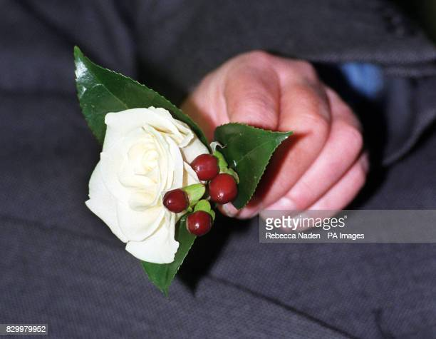 The scented white Bianca Rose with Hypersicum and Camelia leavess which Tory Party leader William Hague chose at Covent Garden Flower Market in...
