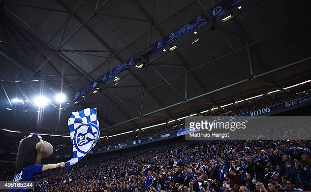 The Schalke 04 mascot Erwin motivates the fans during the Bundesliga match between FC Schalke 04 and FC Ingolstadt at VeltinsArena on October 31 2015...