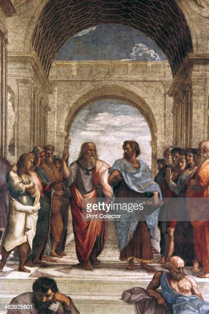 'The School of Athens detail of Plato Aristotle' 15081511 The School of Athens was painted by Raphael Sanzio for Pope Julius II