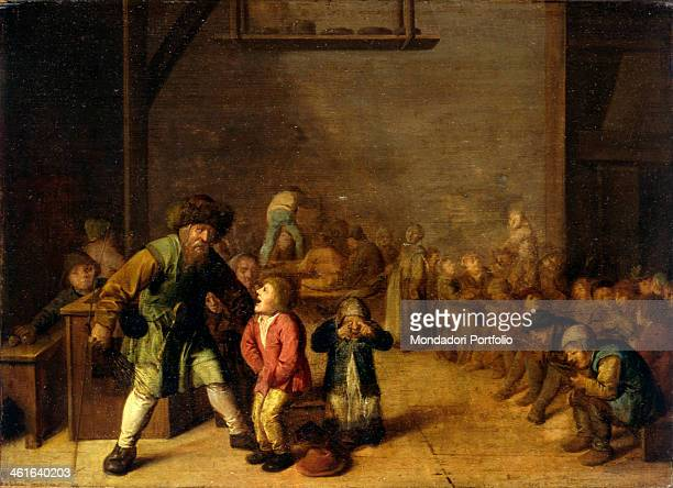 The School Teacher Punishes the Student by Jan Miense Molenaer 1650 1680 17th Century oil on board 31 x 42 cm Italy Lombardy Milan Castello Sforzesco...