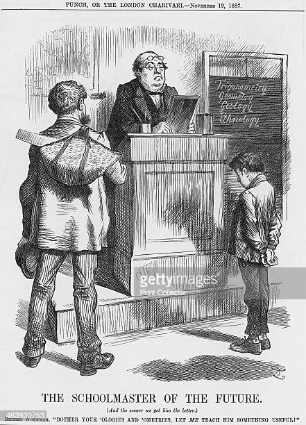'The Schoolmaster of the Future' 1887 The British workman has come into school to take the boy away in order to teach him a trade that will be more...