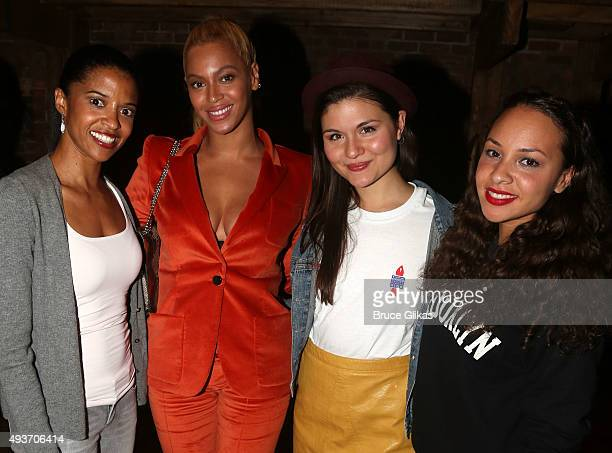 'The Schuyler Sisters' Renee Elise Goldsberry Phillipa Soo and Jasmine Cephas Jones pose with Beyonce backstage at the hit musical 'Hamilton' on...