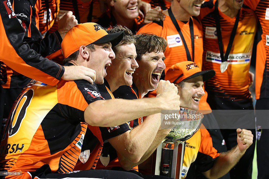 The Scorchers celebrate after defeating the Hurricanes during the Big Bash League Final match between the Perth Scorchers and the Hobart Hurricanes at WACA on February 7, 2014 in Perth, Australia.